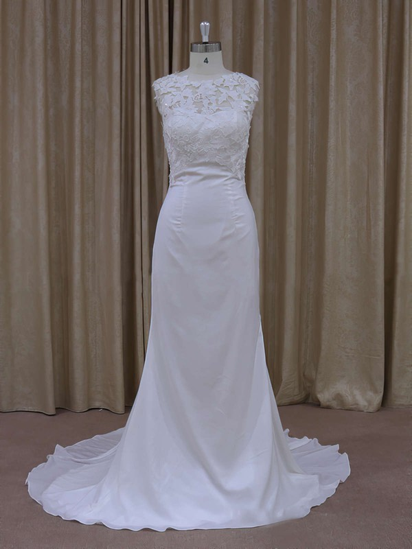 Ivory Lace Chiffon Sequins Scoop Neck Sheath/Column Wedding Dress #DOB00021942