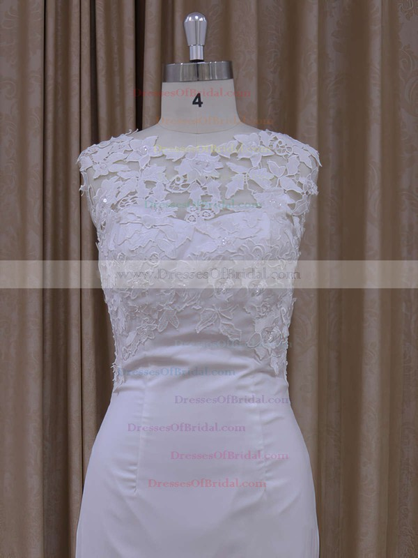 Ivory Lace Chiffon Sequins Scoop Neck Sheath/Column Wedding Dress #DOB00021942
