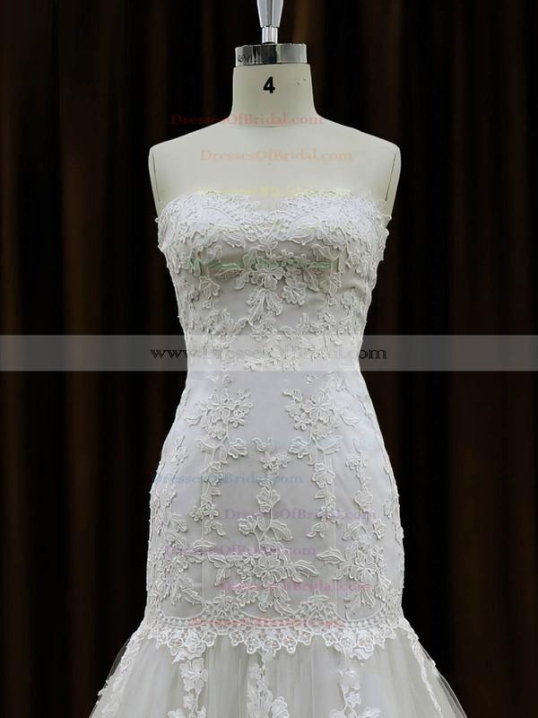 Trumpet/Mermaid Ivory Tulle Appliques Lace Chapel Train Gorgeous Wedding Dresses #DOB00021959