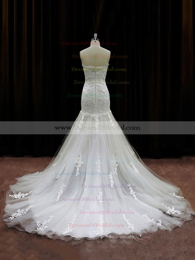 Trumpet/Mermaid Ivory Tulle Appliques Lace Chapel Train Gorgeous Wedding Dresses #DOB00021959