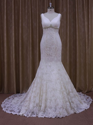 Inexpensive Court Train Ivory Lace Tulle Appliques Lace V-neck Wedding Dress #DOB00021964