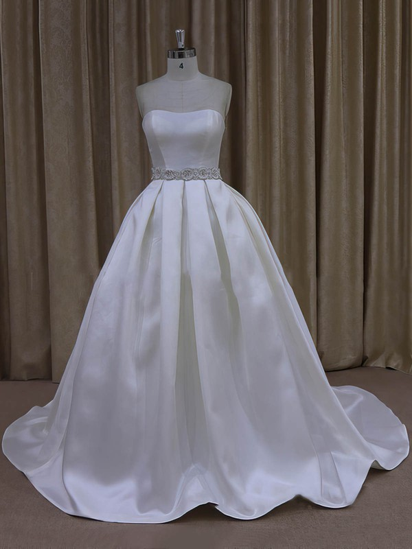 Ball Gown Ivory Taffeta Sashes/Ribbons Sweetheart Vintage Wedding Dresses #DOB00021977