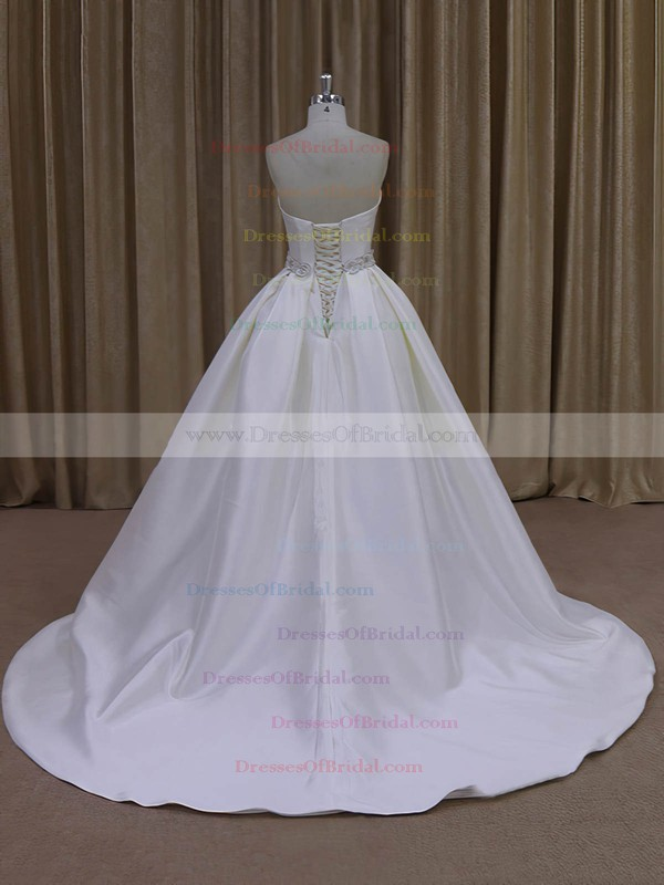 Ball Gown Ivory Taffeta Sashes/Ribbons Sweetheart Vintage Wedding Dresses #DOB00021977