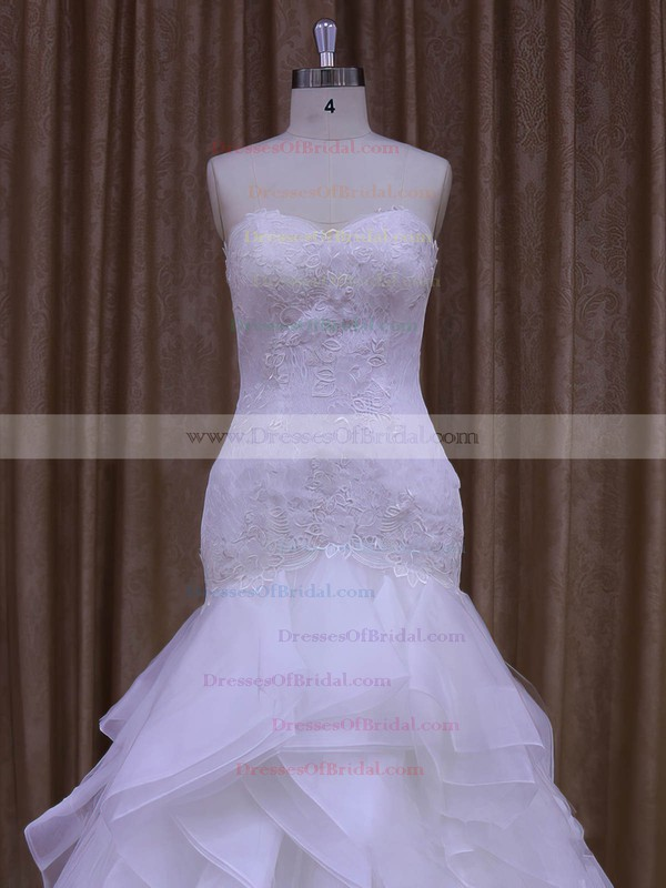 Perfect White Tulle Trumpet/Mermaid Appliques Lace Sweetheart Wedding Dress #DOB00021987