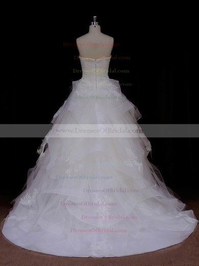 Princess Ivory Tulle Appliques Lace Sweetheart Top Wedding Dresses #DOB00021988