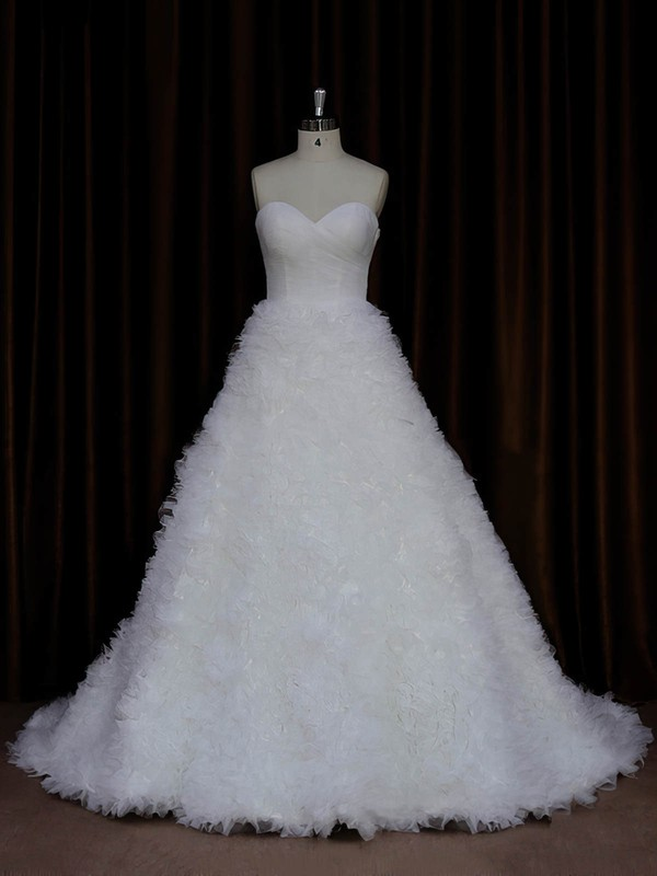 Sweetheart Ruffles Ivory Tulle Lace-up Court Train Wedding Dress #DOB00021989
