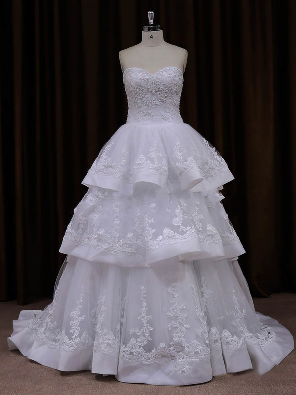 Princess Appliques Lace Sweetheart Lace-up Ivory Tulle Wedding Dresses #DOB00021990
