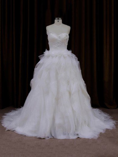 Sweetheart Lace-up Appliques Lace Princess Ivory Tulle Wedding Dress #DOB00021991