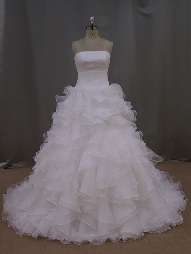 Elegant Court Train Tiered Ivory Organza Strapless Wedding Dress #DOB00021994