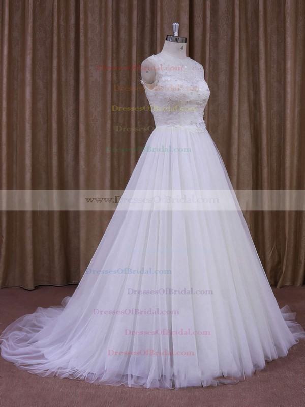 A-line White Lace Tulle Pearl Detailing Scoop Neck Wedding Dresses #DOB00021637