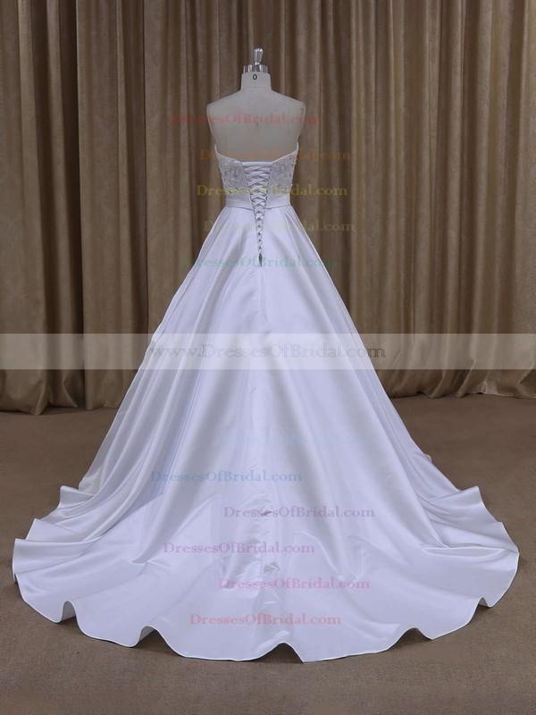 Online Ivory Satin Crystal Detailing Sweetheart Court Train Wedding Dresses #DOB00021686