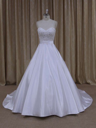 Online Ivory Satin Crystal Detailing Sweetheart Court Train Wedding Dresses #DOB00021686