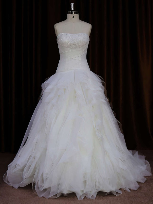 Ivory Tulle Beading Strapless Sweep Train Beautiful Wedding Dress #DOB00021766