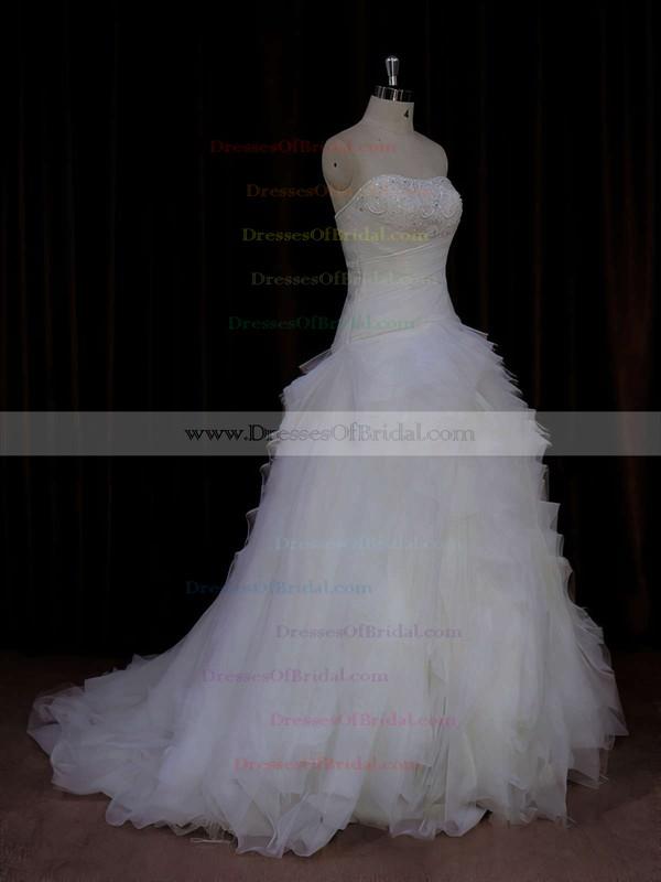 Ivory Tulle Beading Strapless Sweep Train Beautiful Wedding Dress #DOB00021766