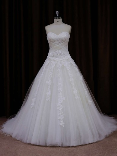 Princess Appliques Lace Sweetheart White Tulle Affordable Wedding Dress #DOB00021772