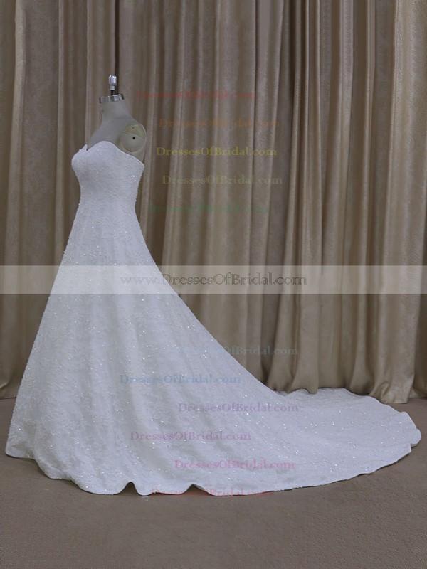 Elegant Sweetheart Ivory Tulle Appliques Lace Court Train Wedding Dress #DOB00021773
