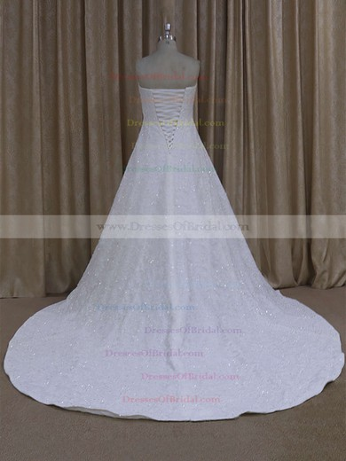 Elegant Sweetheart Ivory Tulle Appliques Lace Court Train Wedding Dress #DOB00021773