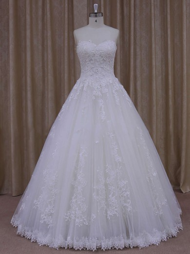 Sweetheart Appliques Lace Ivory Tulle Floor-length Top Wedding Dress #DOB00021778