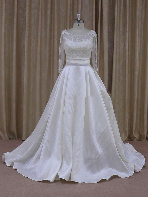 Princess Ivory Tulle Taffeta Long Sleeve Appliques Lace Scoop Neck Prom Dress #DOB00021781