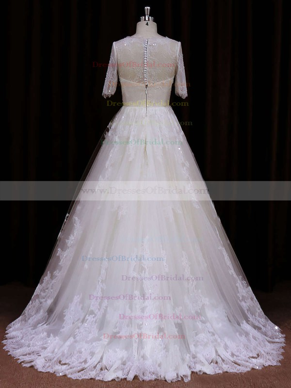 Court Train Ivory Lace Sequins Short Sleeve Scoop Neck Wedding Dress #DOB00021782