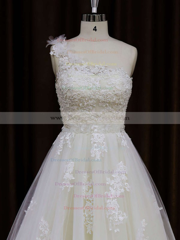 A-line One Shoulder Appliques Lace Ivory Tulle Unique Wedding Dress #DOB00021784