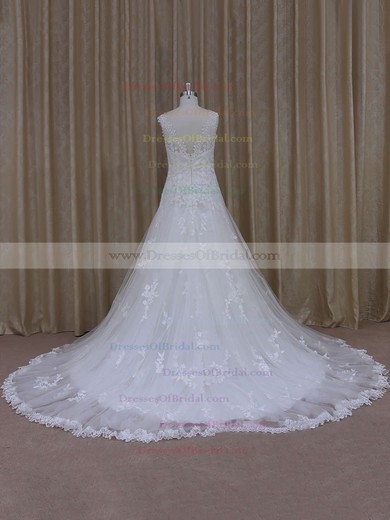 Perfect Ivory Tulle Court Train Appliques Lace Sweetheart Wedding Dress #DOB00021805