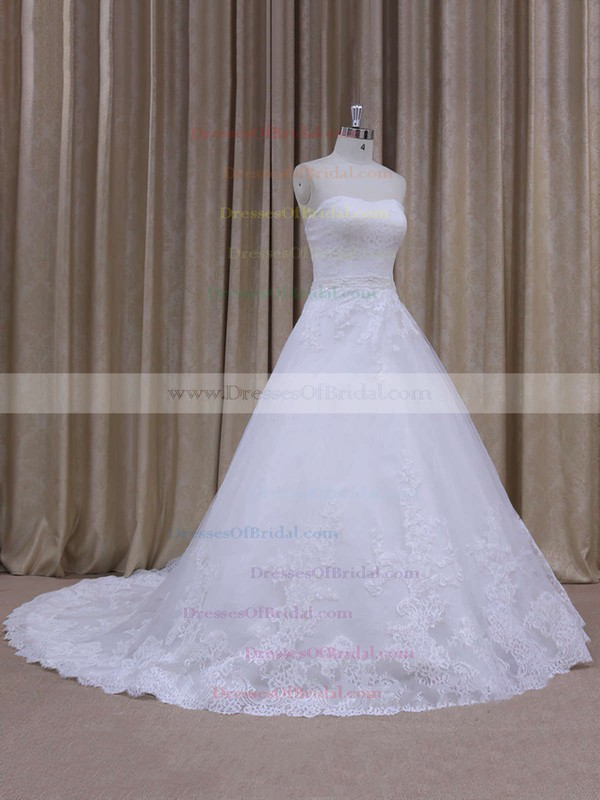 Perfect Chapel Train Appliques Lace Strapless White Tulle Wedding Dress #DOB00021808