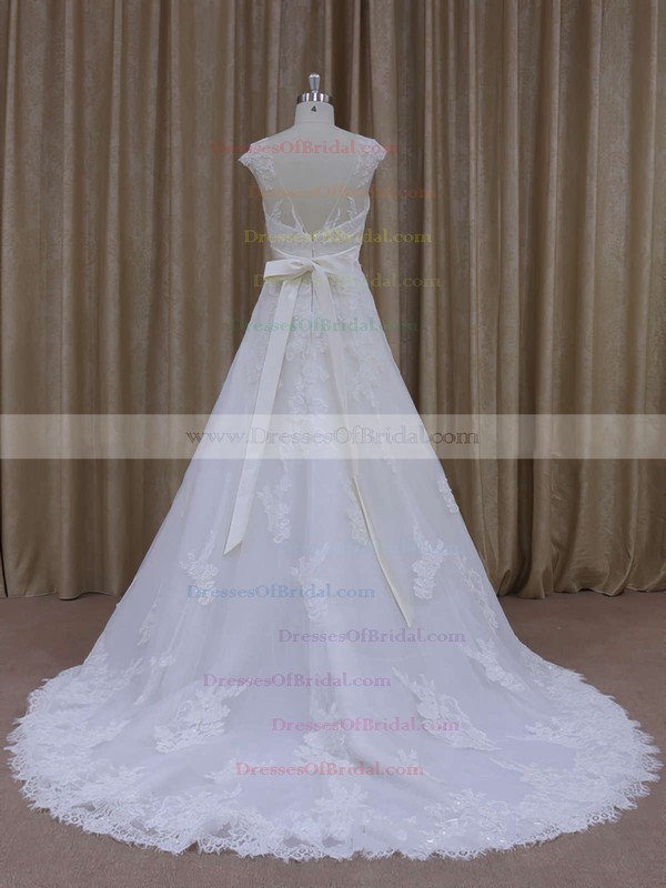 White Tulle Scoop Neck Appliques Lace Chapel Train Pretty Wedding Dress #DOB00021814