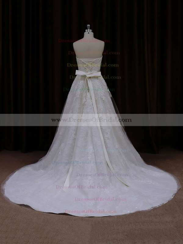 Strapless Ivory Tulle Sashes / Ribbons A-line Nice Wedding Dress #DOB00021815