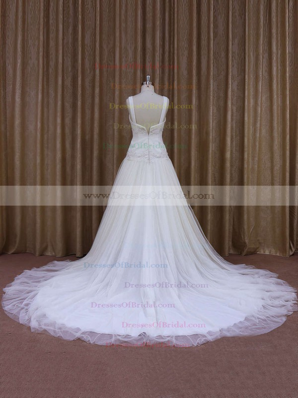 Elegant Ivory Tulle Appliques Lace V-neck Chapel Train Wedding Dress #DOB00021831