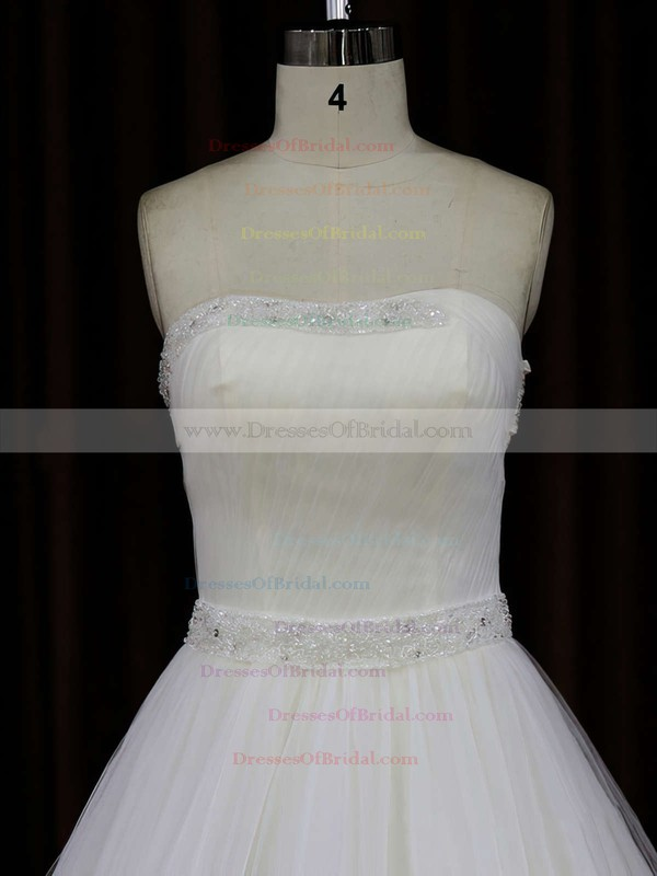 Ivory Strapless Tulle Chapel Train with Beading Beautiful Wedding Dress #DOB00021833