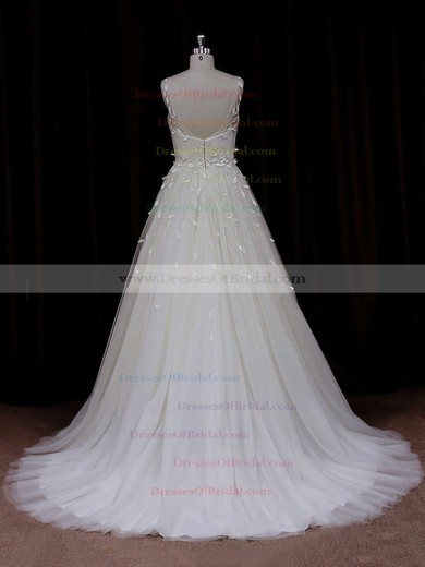 Modern Princess Tulle Appliques Lace Scoop Neck Ivory Wedding Dresses #DOB00021834