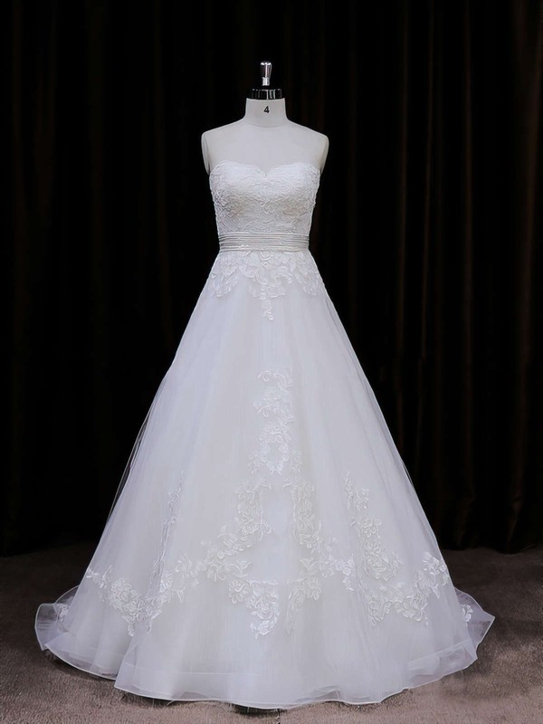 Princess Ivory Organza Appliques Lace Sweetheart Good Wedding Dresses #DOB00021848