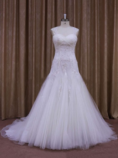 Sweetheart White Tulle Appliques Lace Court Train Wholesale Wedding Dress #DOB00021857