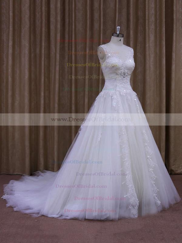 Amazing Chapel Train Tulle Appliques Lace White V-neck Wedding Dress #DOB00021860