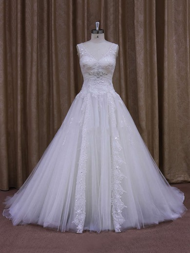 Amazing Chapel Train Tulle Appliques Lace White V-neck Wedding Dress #DOB00021860