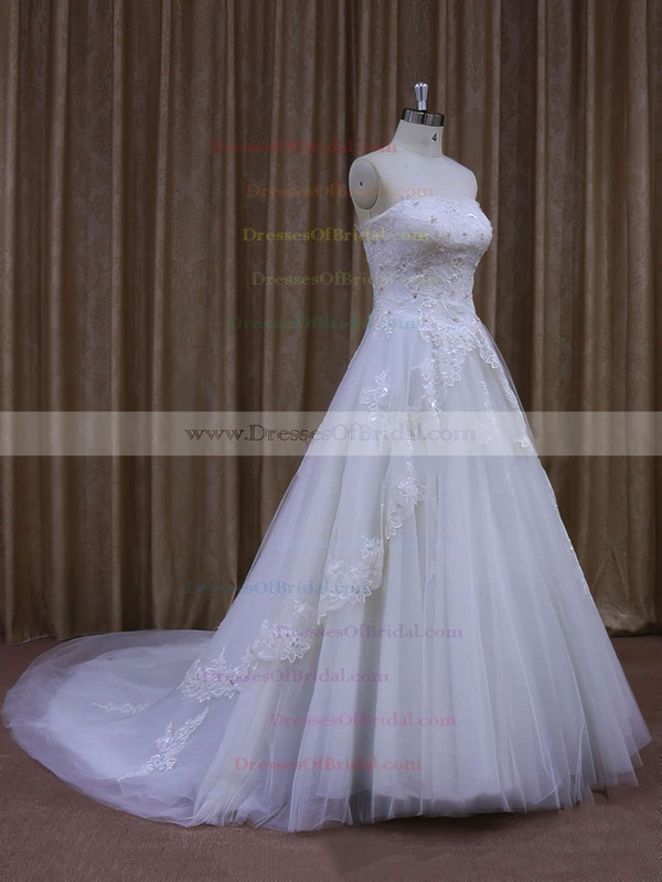 Strapless Tulle Appliques Lace A-line White Original Wedding Dresses #DOB00021864