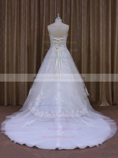 Strapless Tulle Appliques Lace A-line White Original Wedding Dresses #DOB00021864