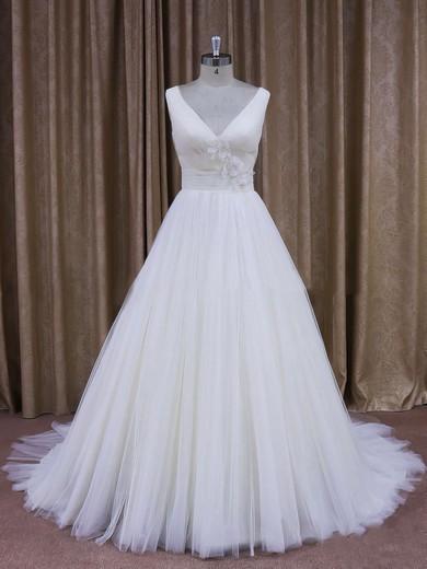 A-line Ivory Tulle Flower(s) V-neck Discount Wedding Dresses #DOB00021868