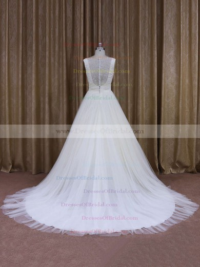 A-line Ivory Tulle Flower(s) V-neck Discount Wedding Dresses #DOB00021868