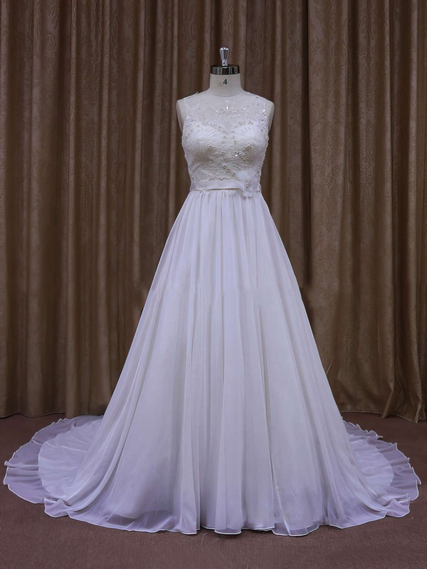 Modern Chapel Train White Chiffon Sashes/Ribbons Scoop Neck Wedding Dresses #DOB00021871