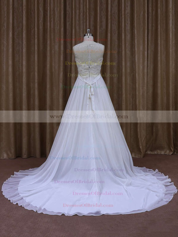 Modern Chapel Train White Chiffon Sashes/Ribbons Scoop Neck Wedding Dresses #DOB00021871