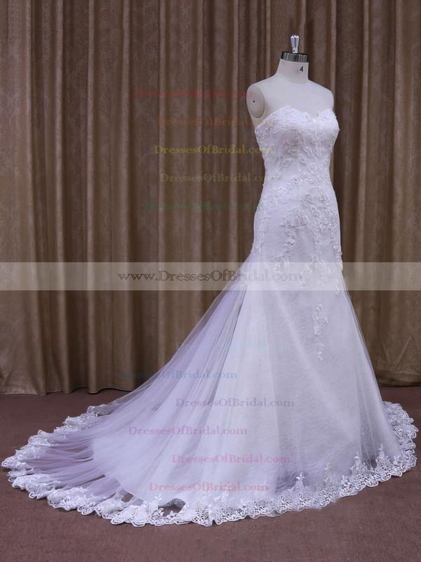 Custom Sweetheart Appliques Lace White Tulle Trumpet/Mermaid Wedding Dresses #DOB00021874