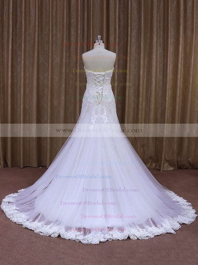 Custom Sweetheart Appliques Lace White Tulle Trumpet/Mermaid Wedding Dresses #DOB00021874