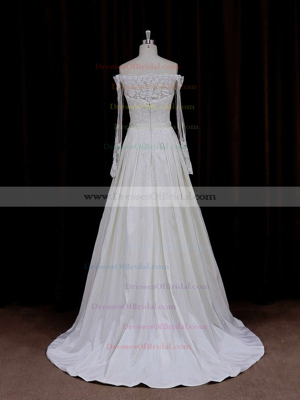 Off-the-shoulder Simple Long Sleeve Appliques Lace Ivory Taffeta Wedding Dresses #DOB00021883