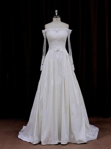 Off-the-shoulder Simple Long Sleeve Appliques Lace Ivory Taffeta Wedding Dresses #DOB00021883