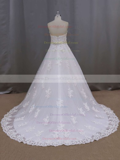 Ivory Tulle Appliques Lace Court Train Sweetheart Great Wedding Dresses #DOB00021886