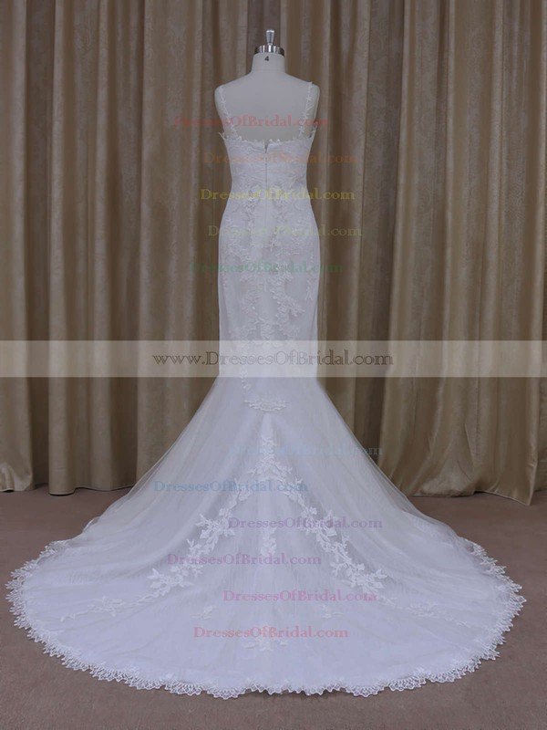 Ivory Tulle V-neck Appliques Lace Trumpet/Mermaid Custom Wedding Dresses #DOB00021912