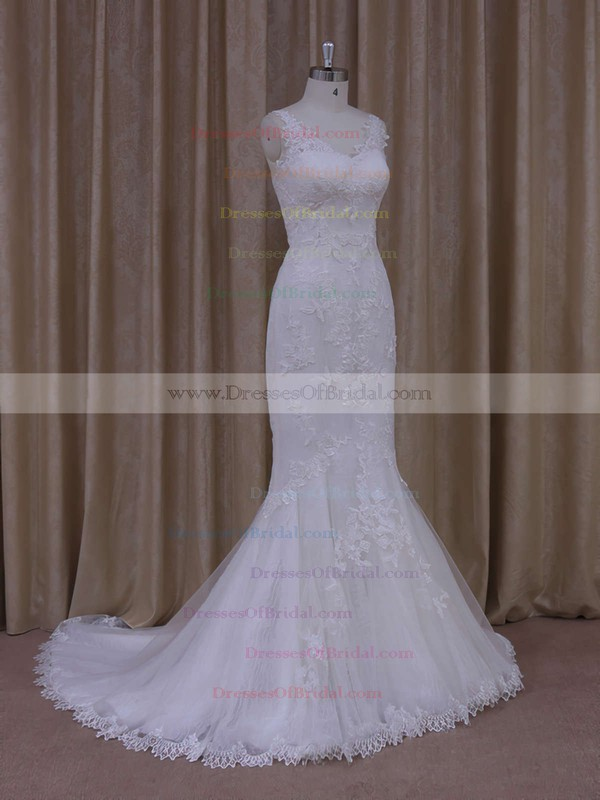 Ivory Tulle V-neck Appliques Lace Trumpet/Mermaid Custom Wedding Dresses #DOB00021912
