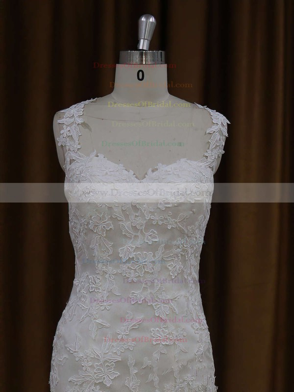 Trumpet/Mermaid Appliques Lace Sweetheart Ivory Satin Tulle Perfect Wedding Dresses #DOB00021920
